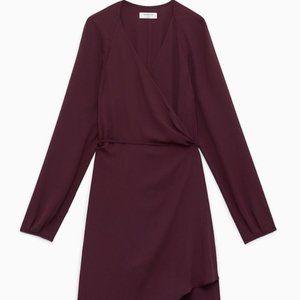 NWT Aritzia Babaton Degrazia Wrap Dress Burgundy